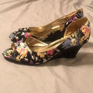 Rampage Navy Floral Wedge Heels - Size 9